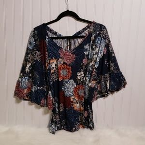 Bobeau Floral Top with Ruffled Bell Sleeves